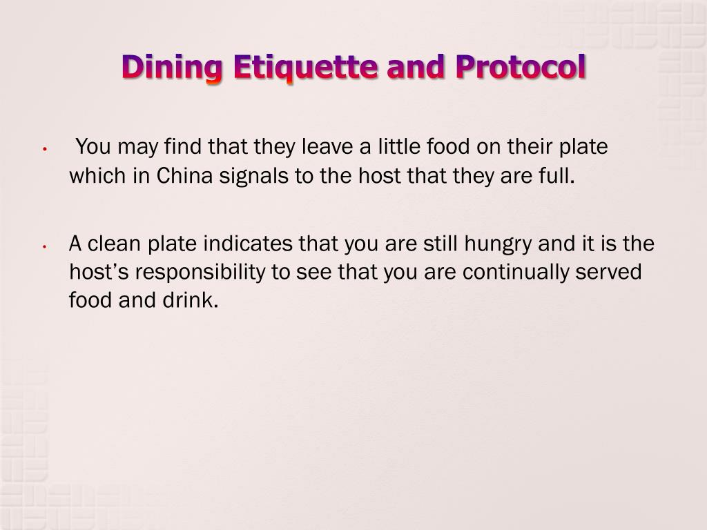 Dining Etiquette and Protocol