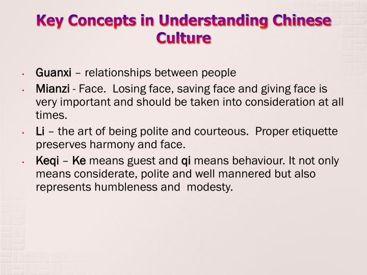 Key concepts in understanding chinese culture