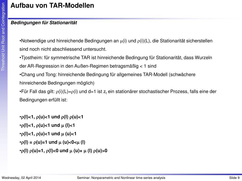 Aufbau von TAR-Modellen