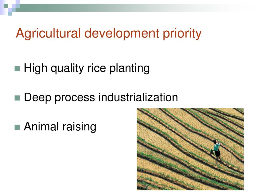 Agricultural development priority