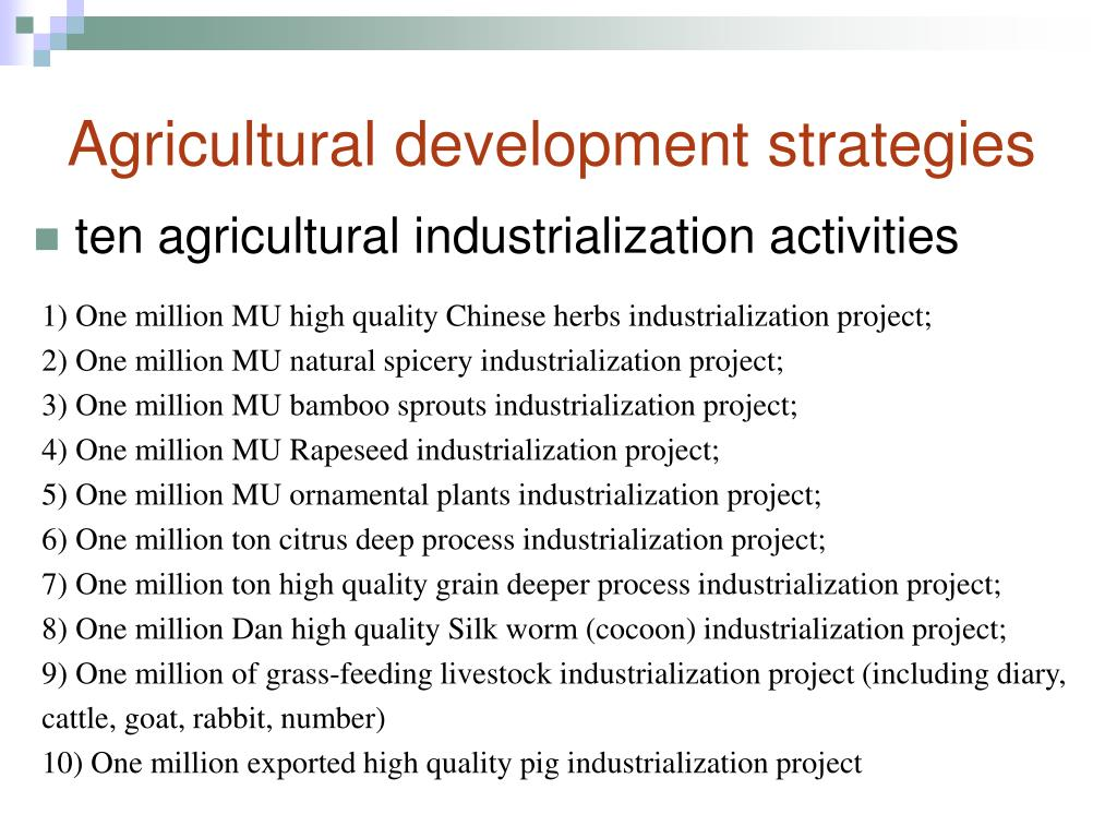 Agricultural development strategies