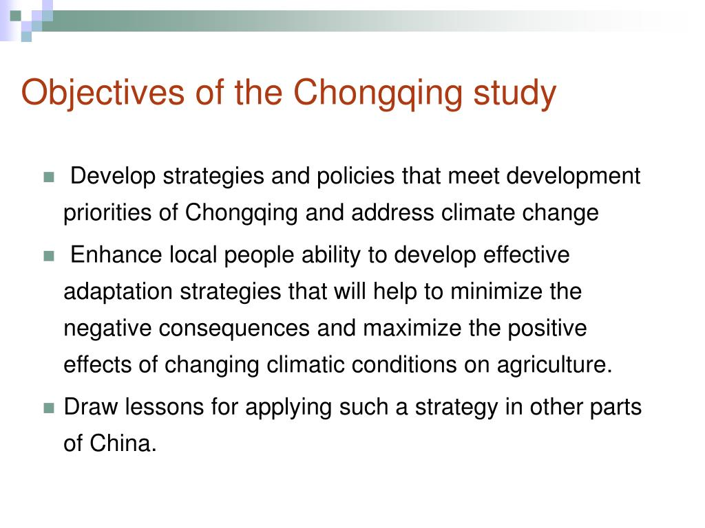 Objectives of the Chongqing study