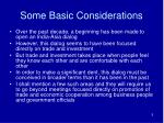 some basic considerations