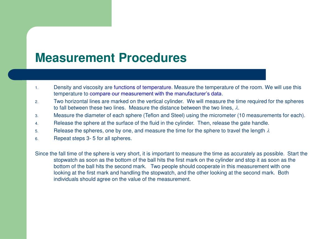 Measurement Procedures