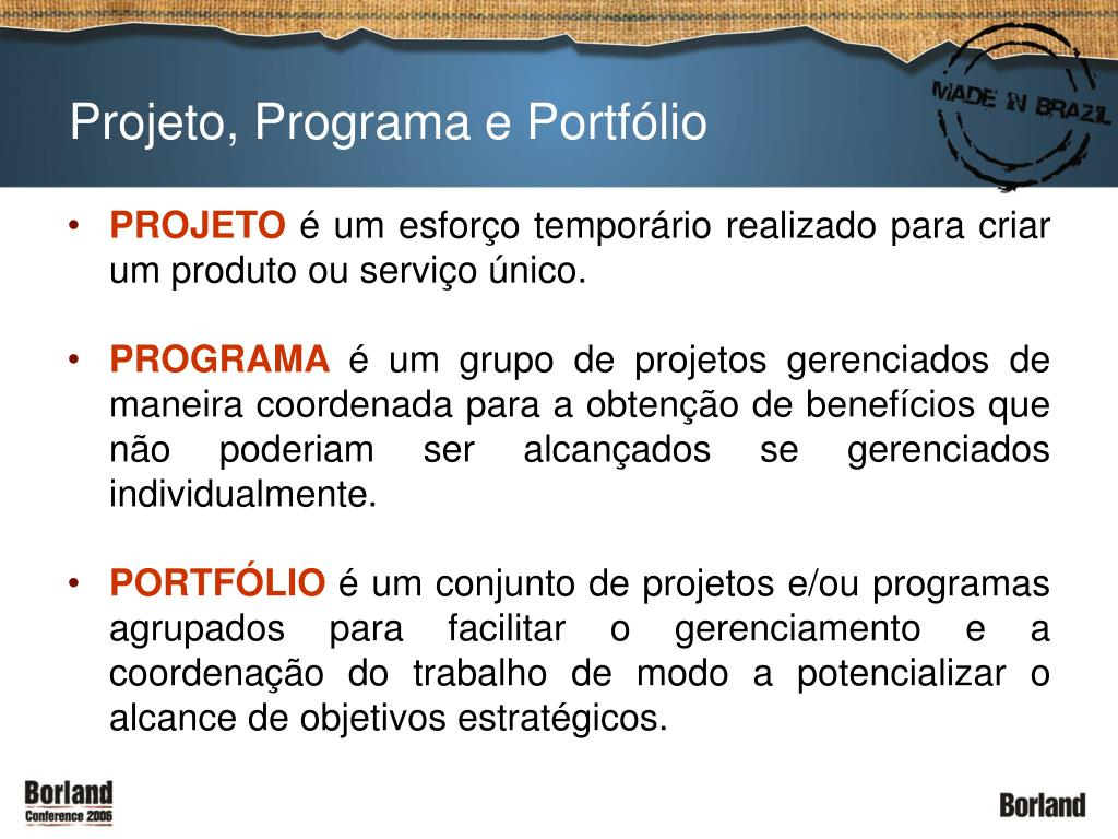 Projeto, Programa e Portfólio