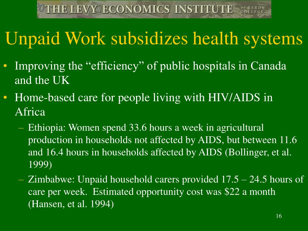Unpaid Work subsidizes health systems