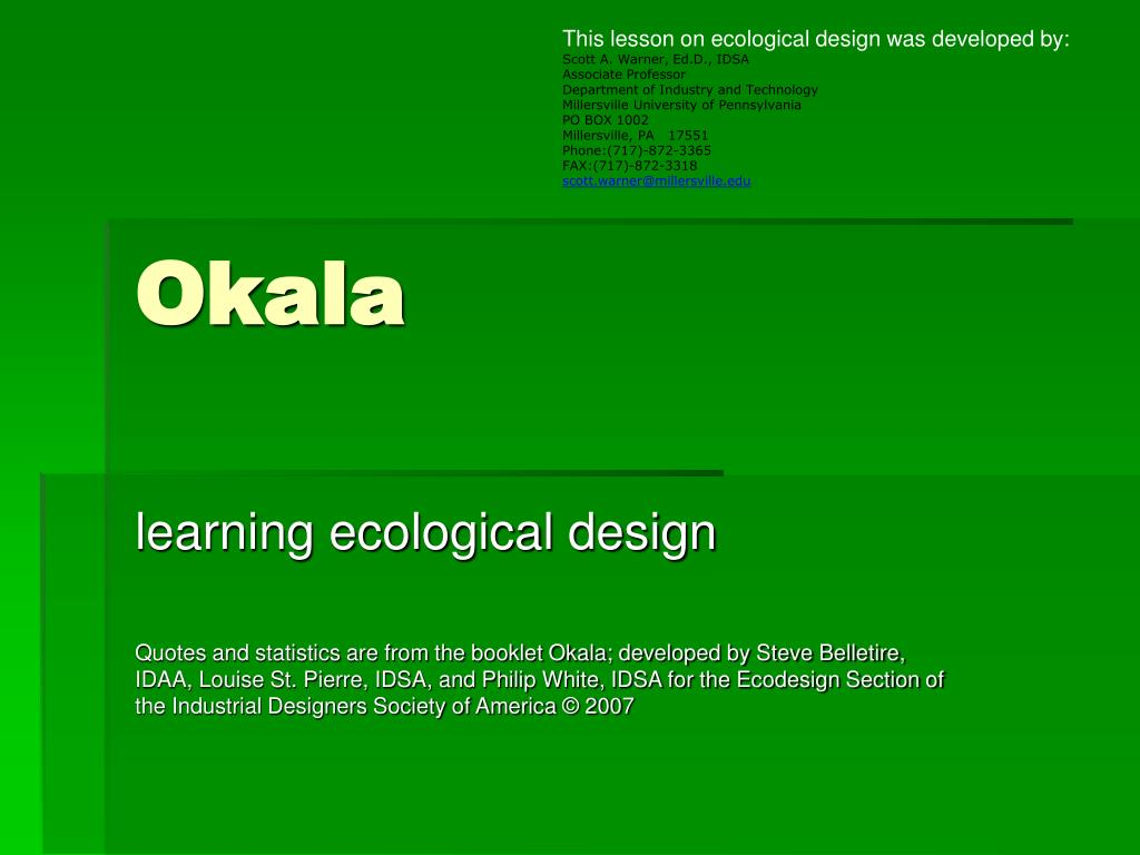 This lesson on ecological design was developed by:
