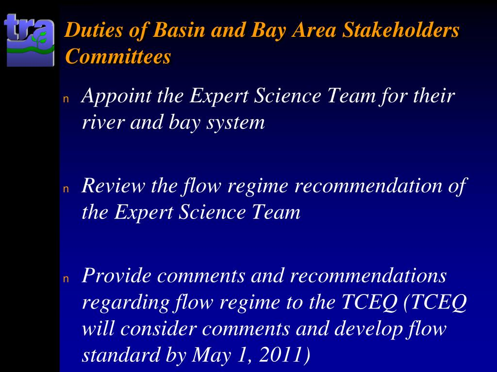 Duties of Basin and Bay Area Stakeholders Committees