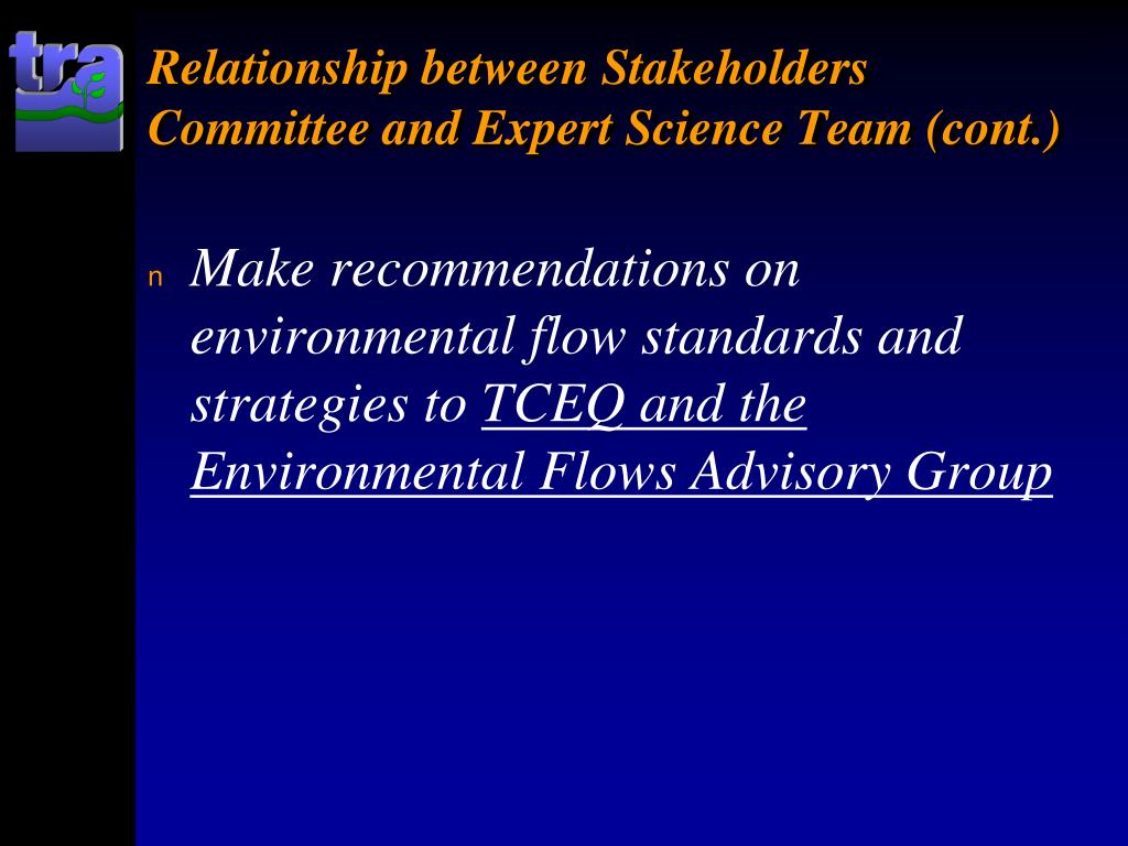 Relationship between Stakeholders Committee and Expert Science Team (cont.)