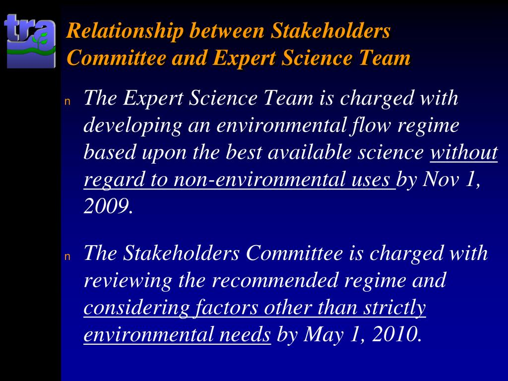 Relationship between Stakeholders Committee and Expert Science Team
