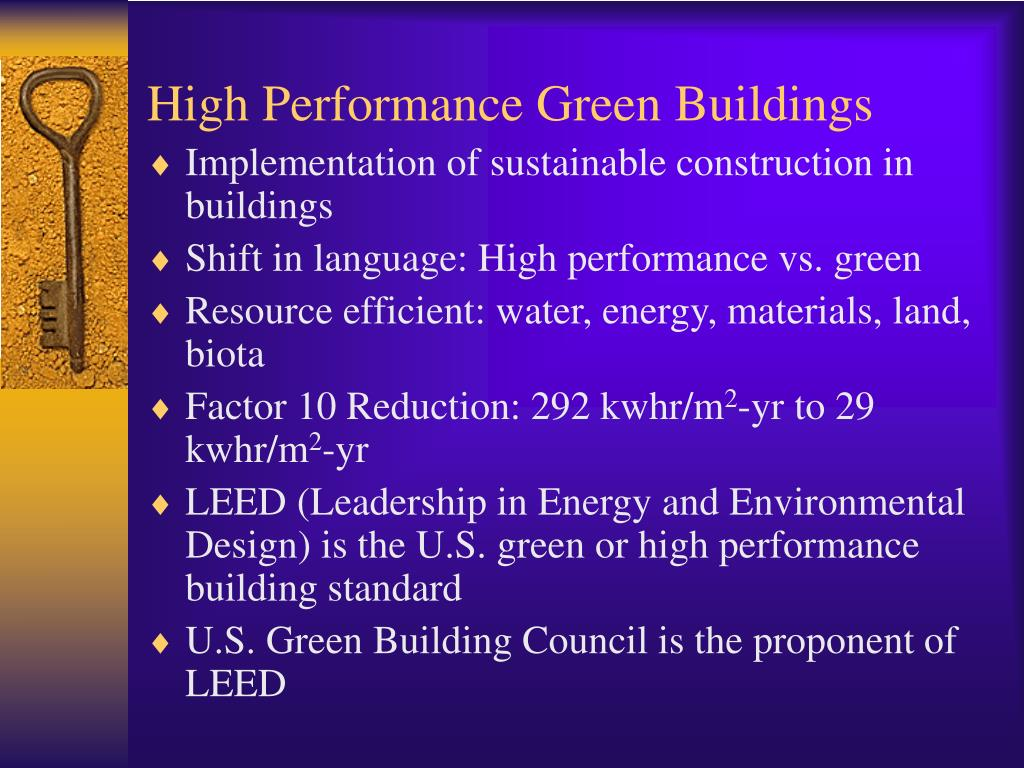 High Performance Green Buildings