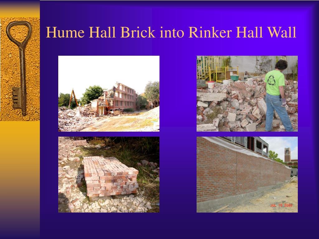 Hume Hall Brick into Rinker Hall Wall
