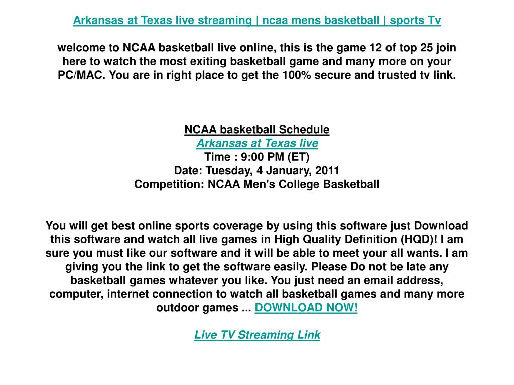 Arkansas at Texas live streaming | ncaa mens basketball | sports Tv