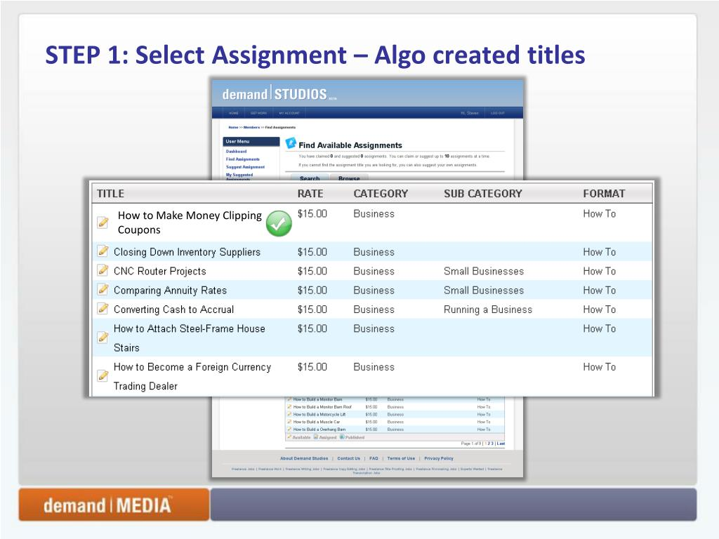 STEP 1: Select Assignment – Algo created titles