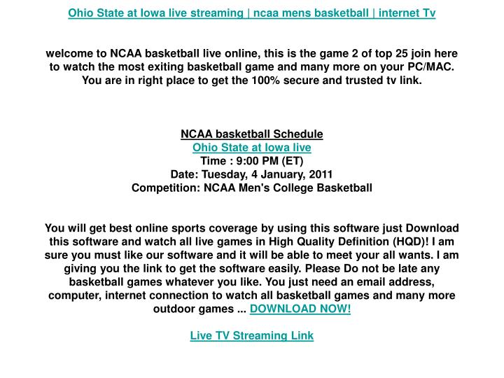 Ohio State at Iowa live streaming | ncaa mens basketball | internet Tv