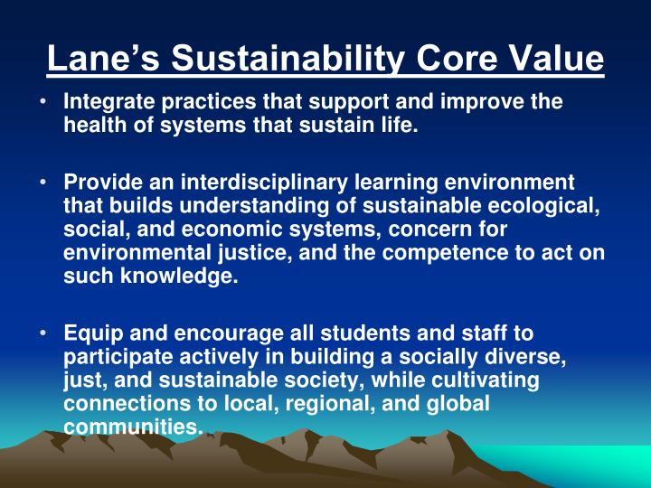 Lane s sustainability core value