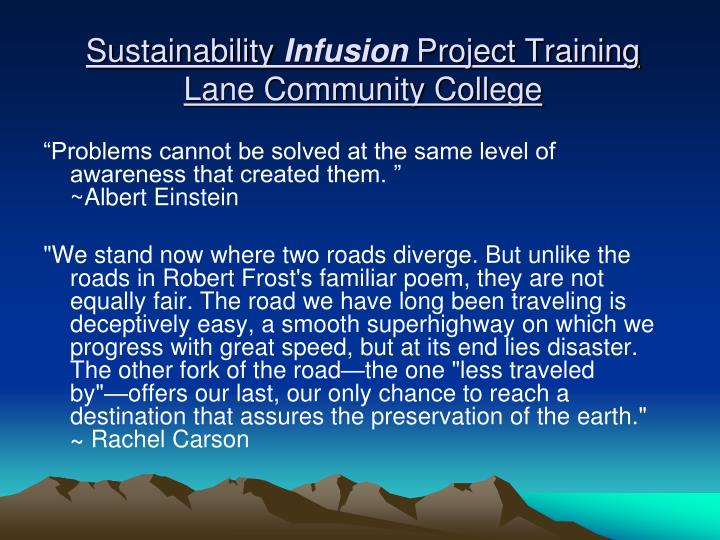 Sustainability infusion project training lane community college