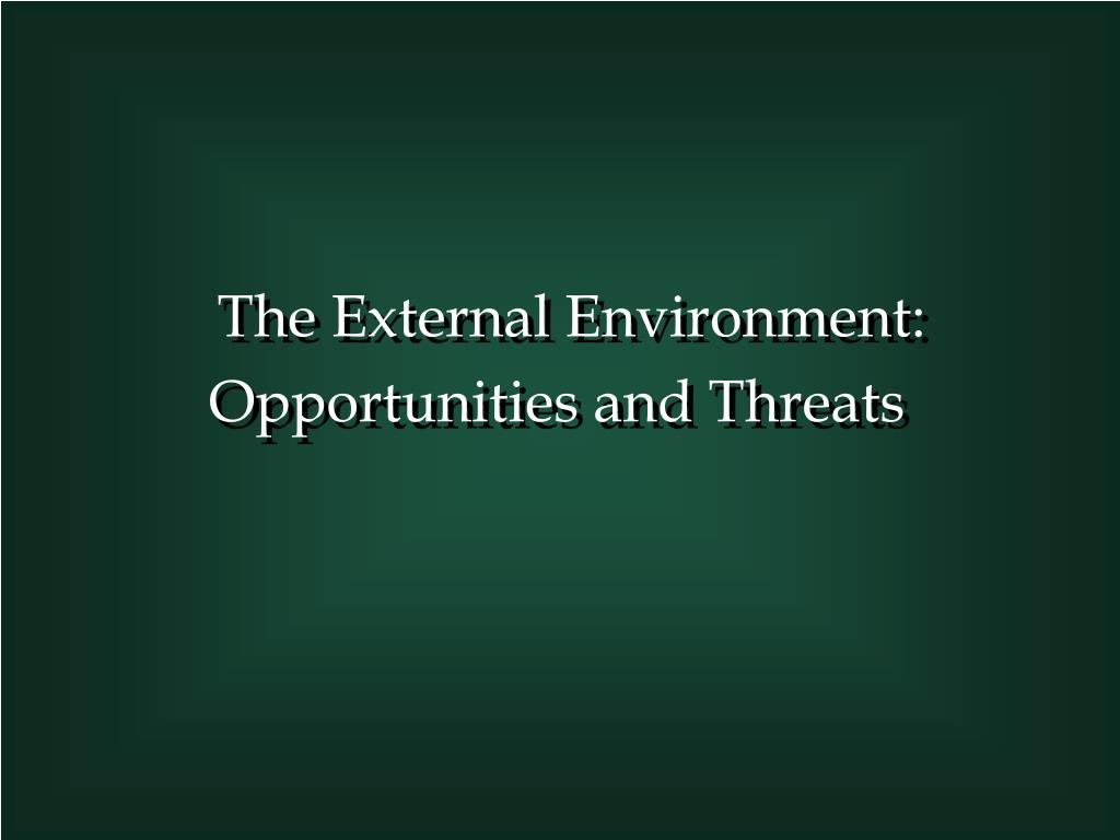 the external environment opportunities and threats