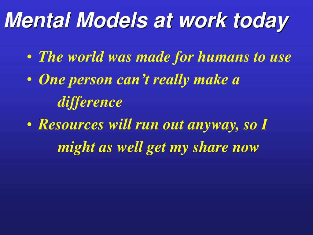 Mental Models at work today