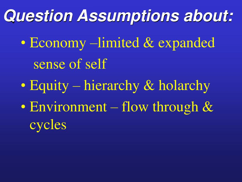 Question Assumptions about: