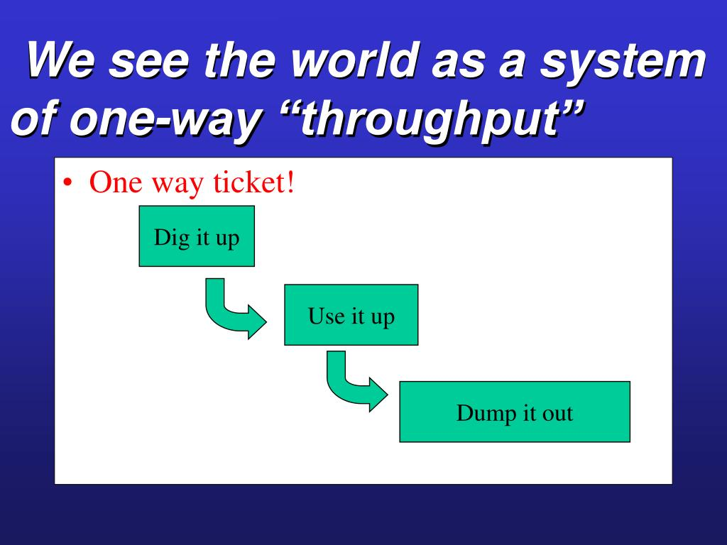"We see the world as a system of one-way ""throughput"""