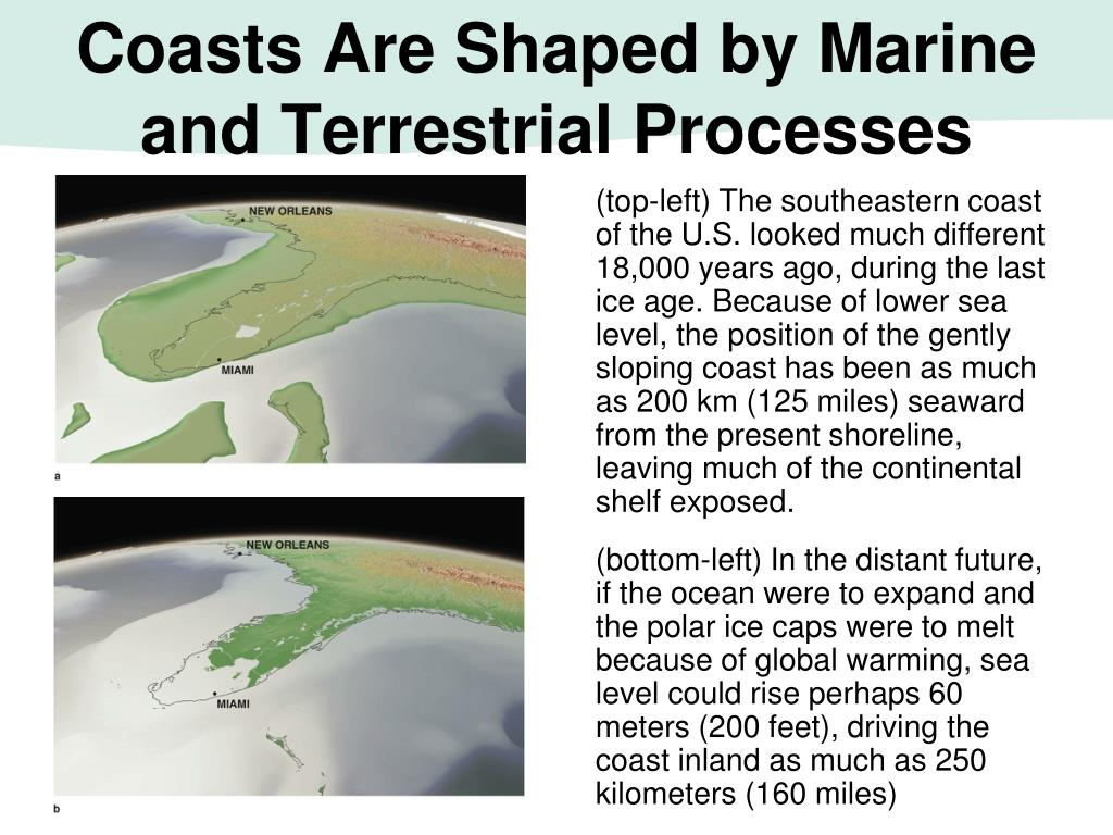 (top-left) The southeastern coast of the U.S. looked much different 18,000 years ago, during the last ice age. Because of lower sea level, the position of the gently sloping coast has been as much as 200 km (125 miles) seaward from the present shoreline, leaving much of the continental shelf exposed.
