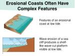 erosional coasts often have complex features