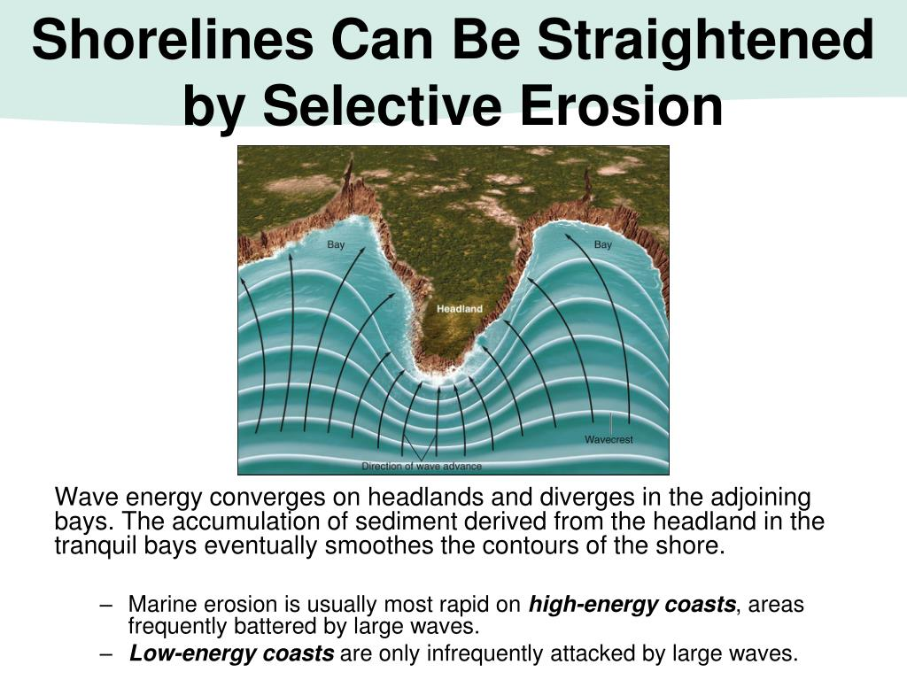 Shorelines Can Be Straightened by Selective Erosion