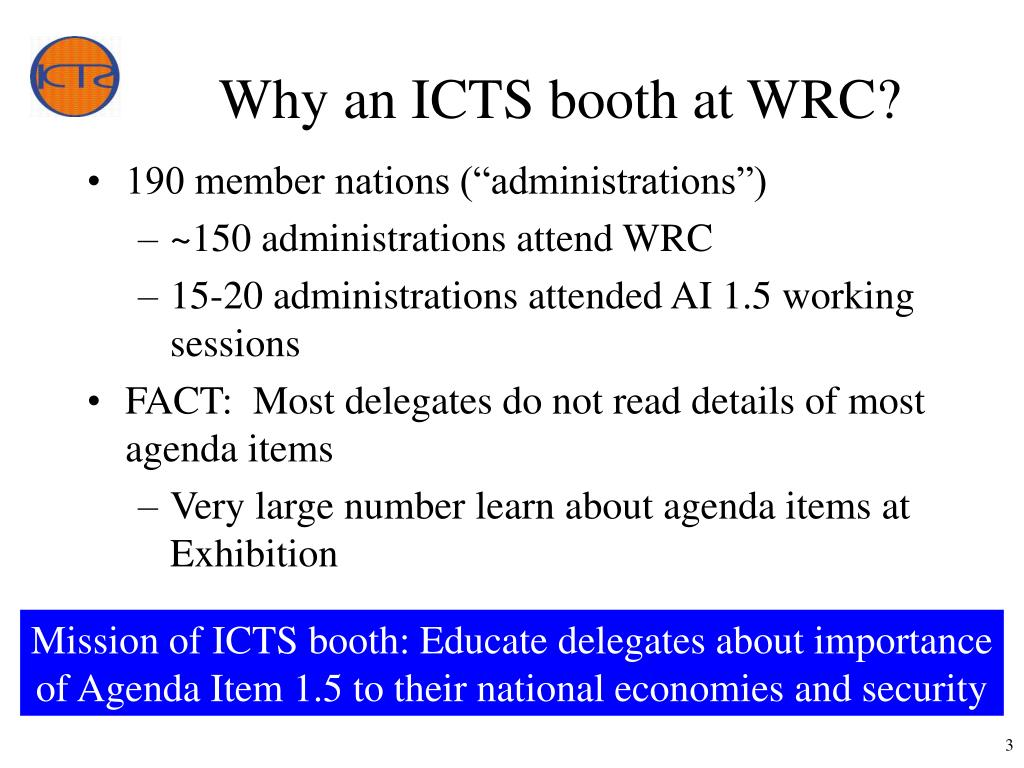 Why an ICTS booth at WRC?