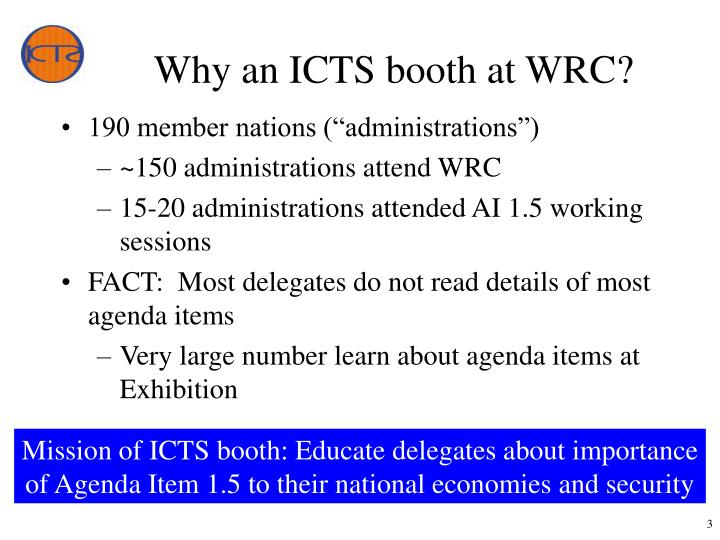 Why an icts booth at wrc