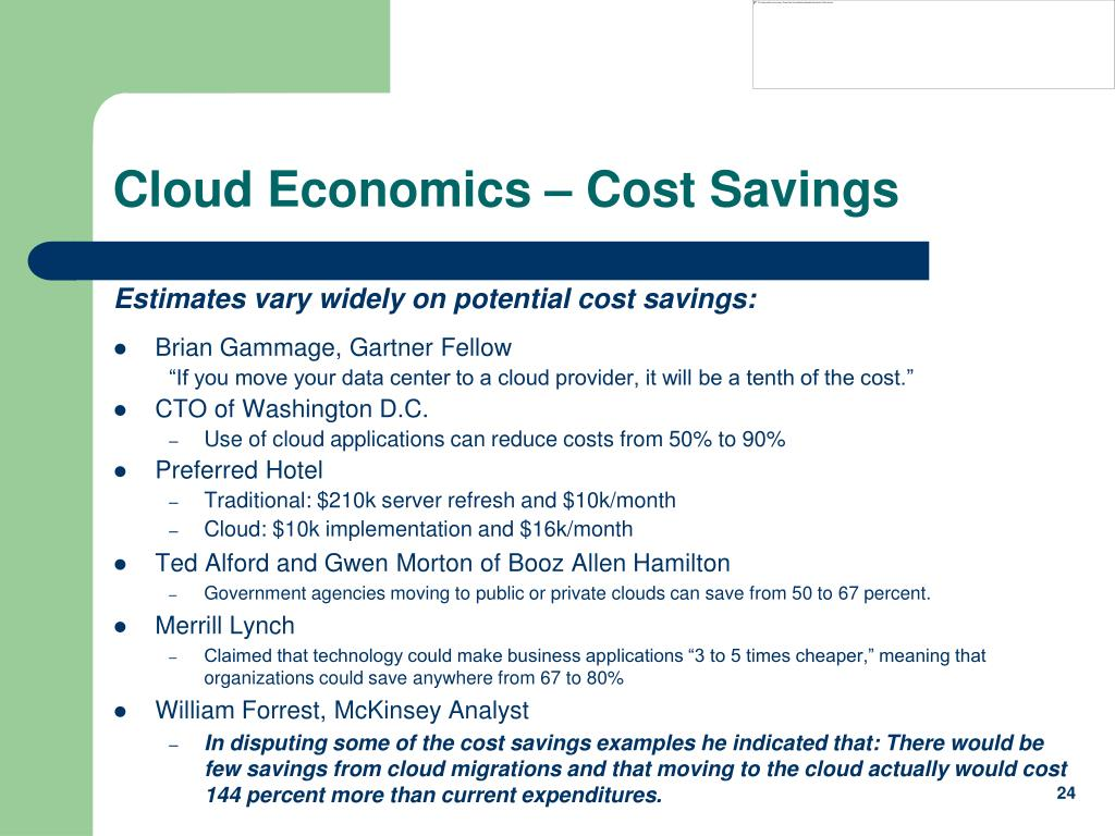 Cloud Economics – Cost Savings