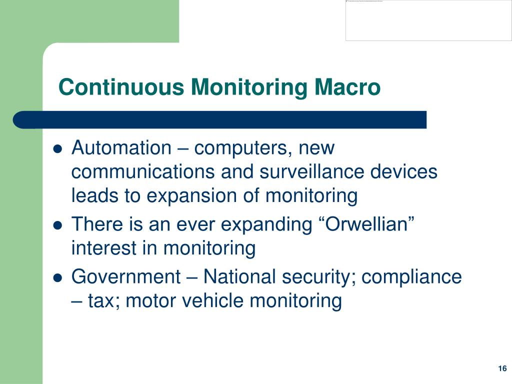 Continuous Monitoring Macro