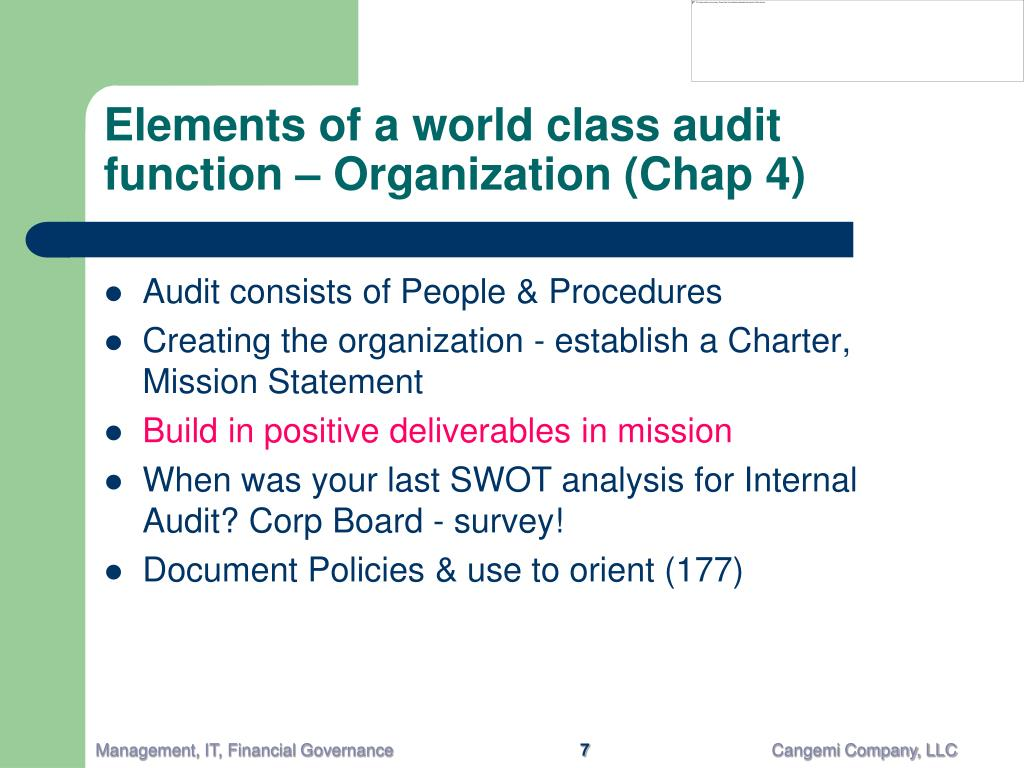 Elements of a world class audit function – Organization (Chap 4)