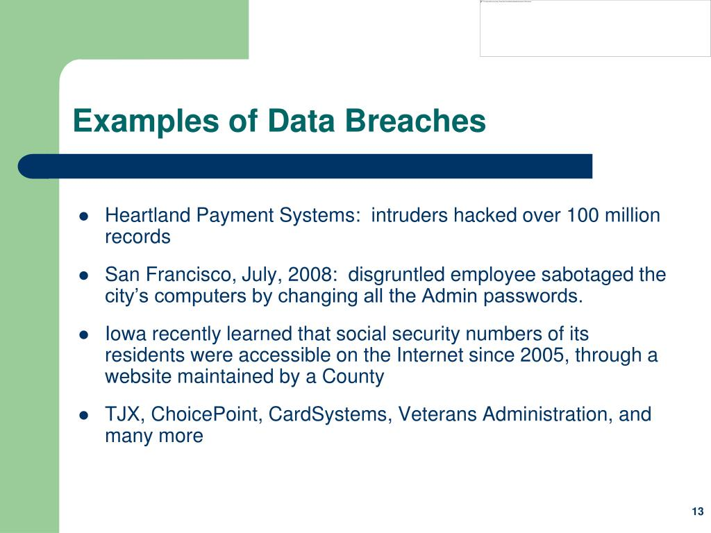 Examples of Data Breaches