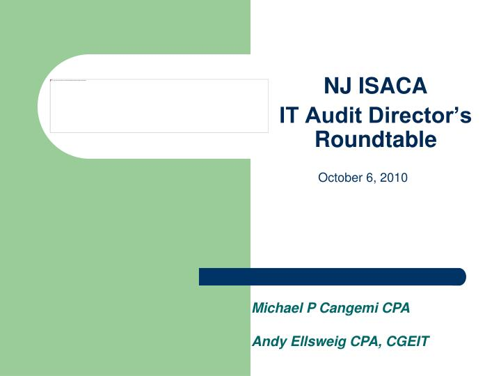 Nj isaca it audit director s roundtable
