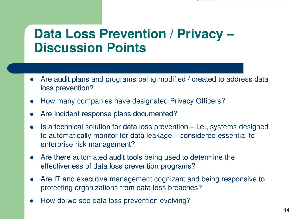 Data Loss Prevention / Privacy – Discussion Points