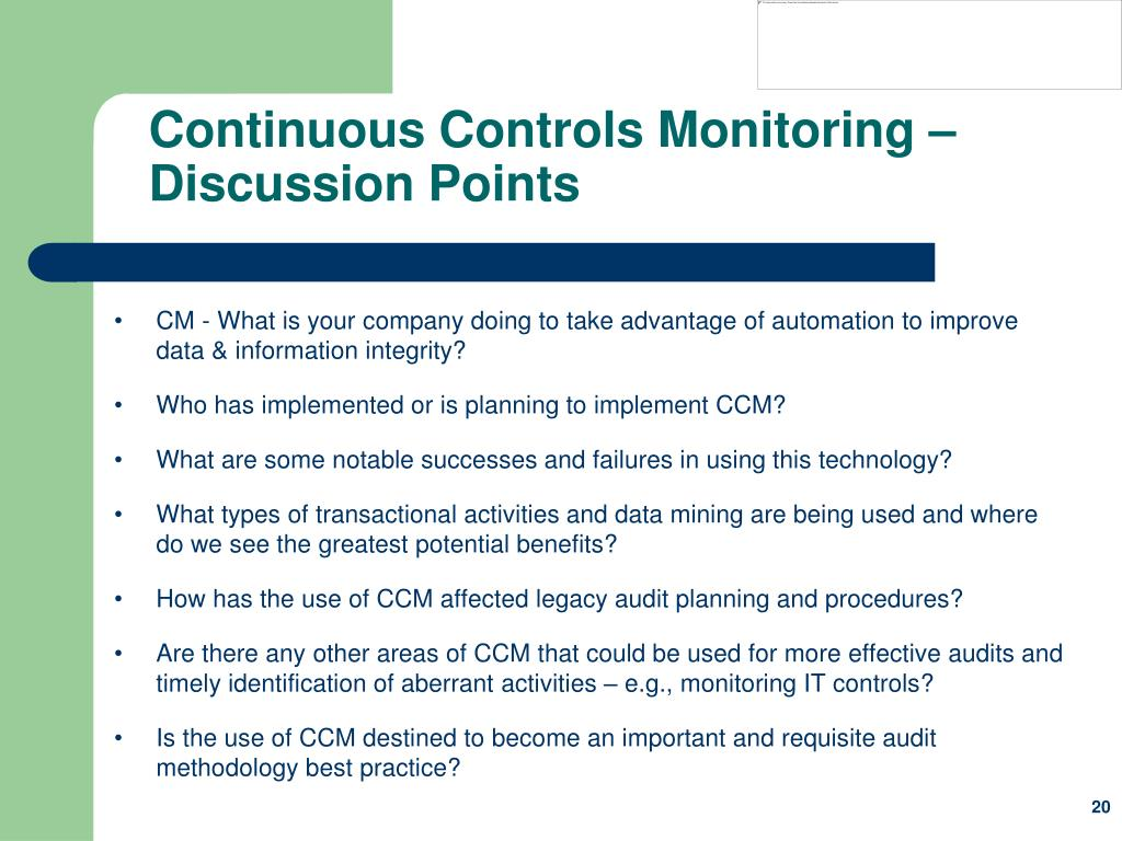 Continuous Controls Monitoring – Discussion Points