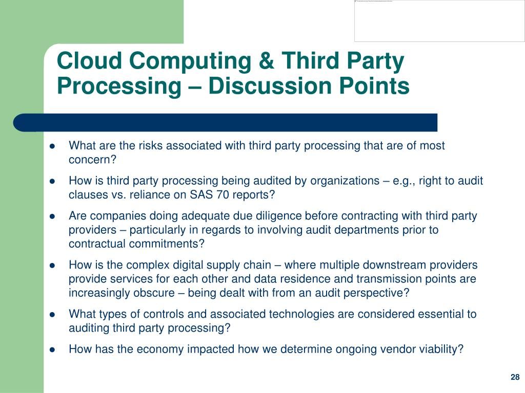 Cloud Computing & Third Party Processing – Discussion Points