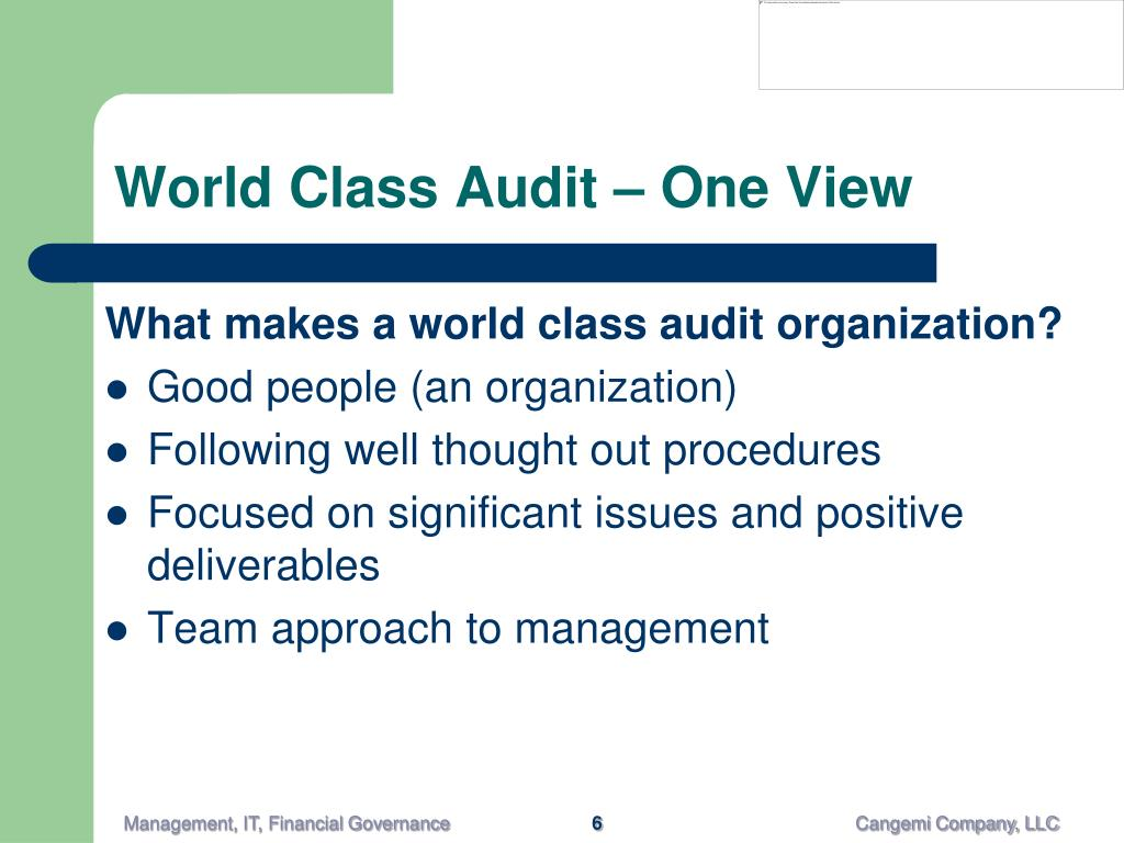 World Class Audit – One View