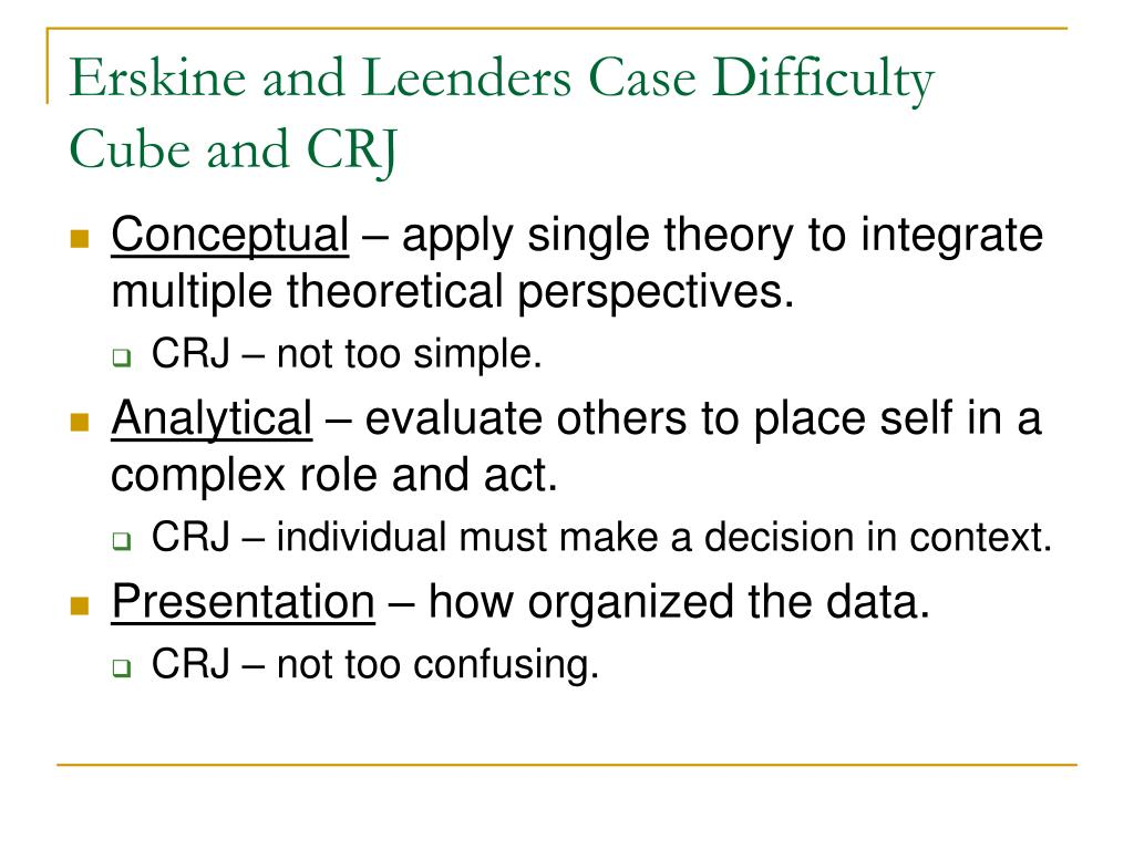 Erskine and Leenders Case Difficulty Cube and CRJ