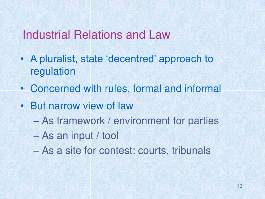 Industrial Relations and Law