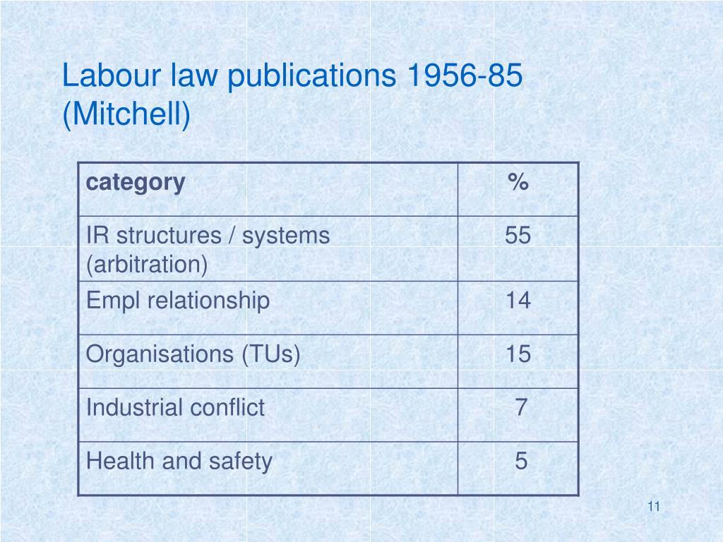 Labour law publications 1956-85 (Mitchell)