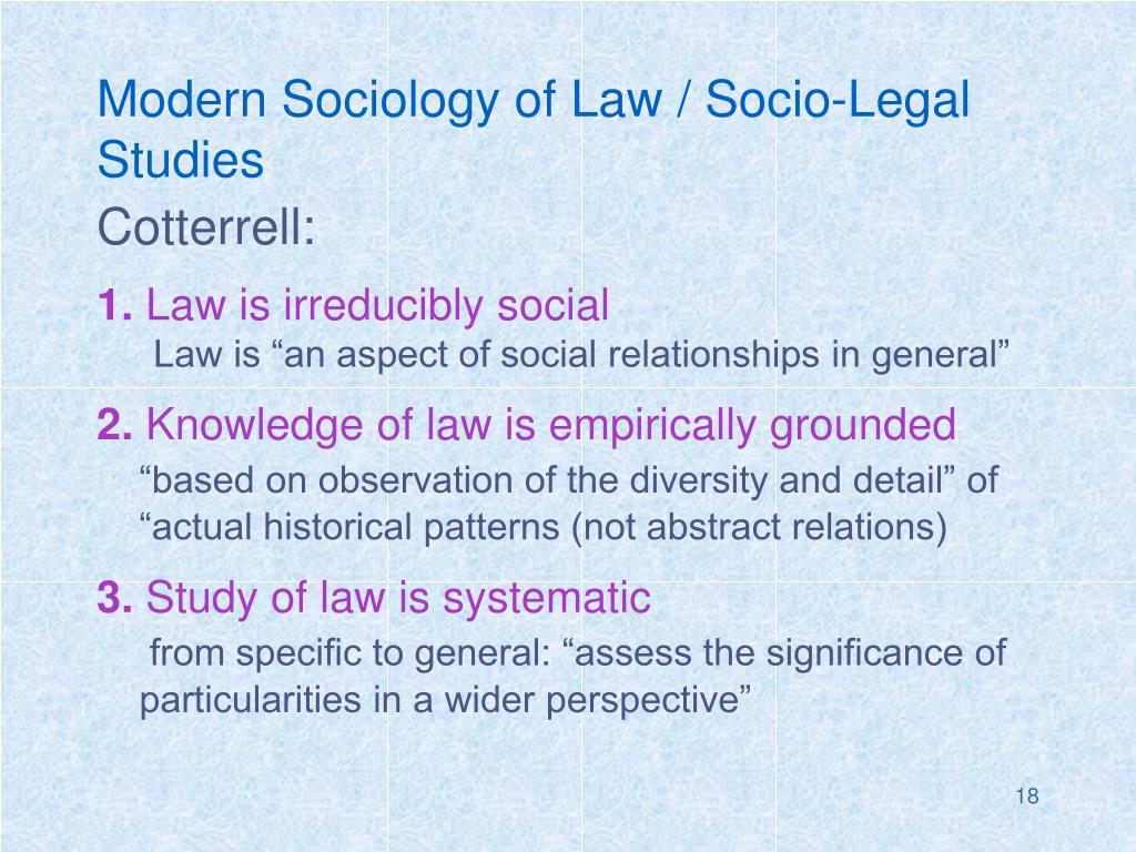 Modern Sociology of Law / Socio-Legal Studies