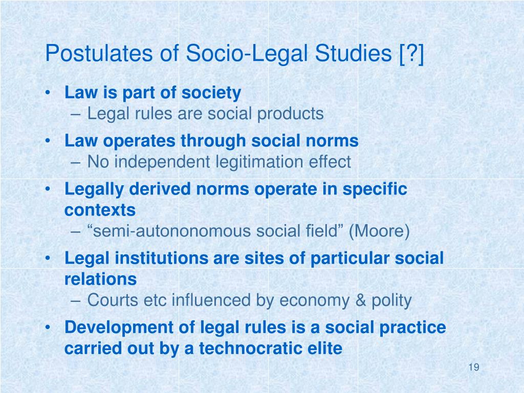 Postulates of Socio-Legal Studies [?]
