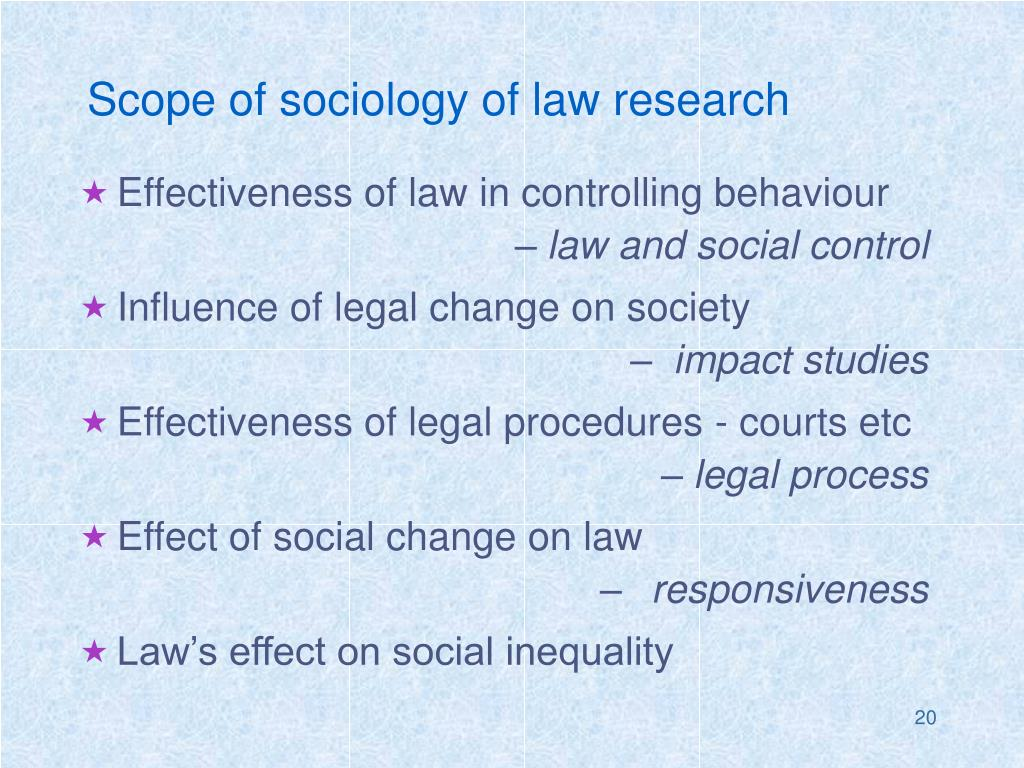 Scope of sociology of law research