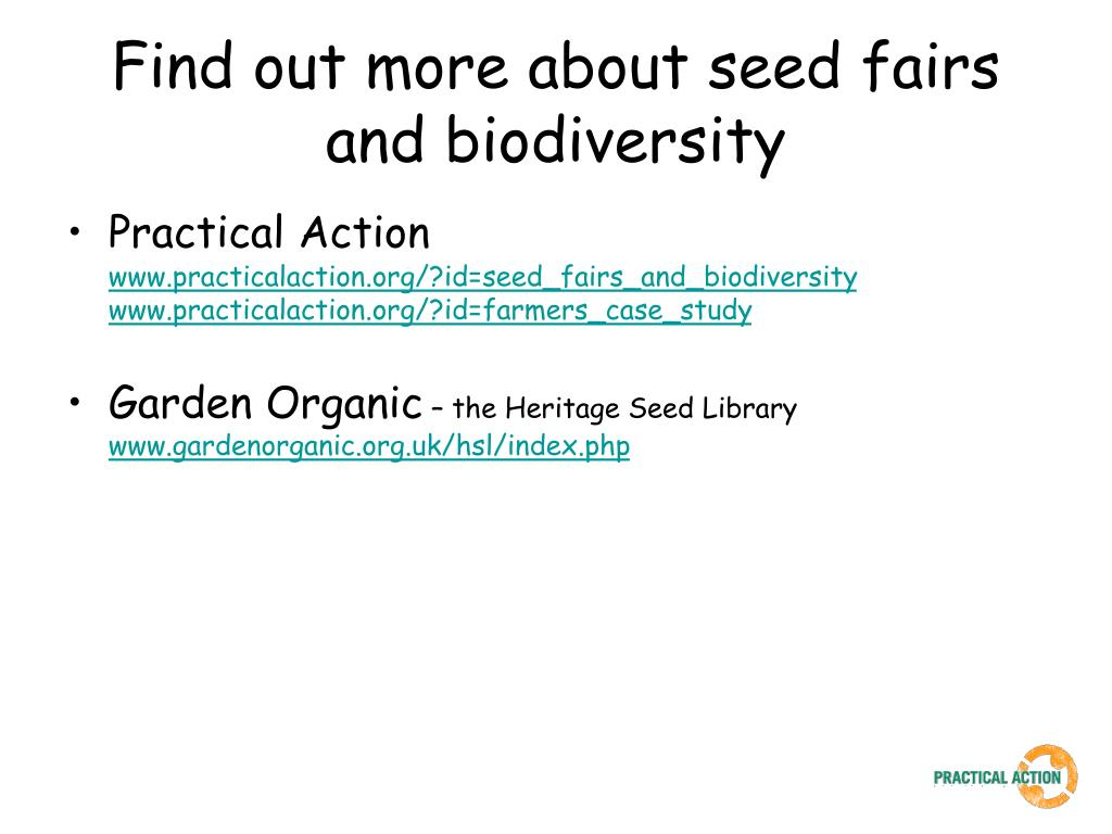Find out more about seed fairs and biodiversity
