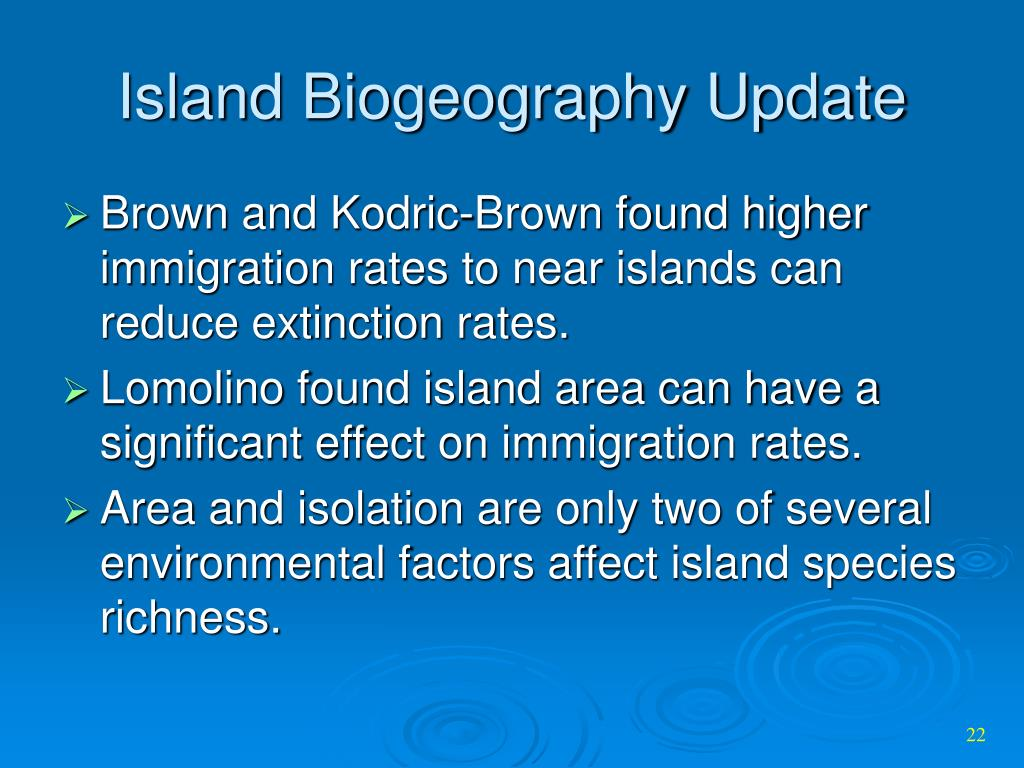 Island Biogeography Update