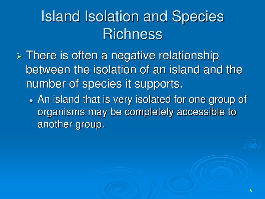 Island Isolation and Species Richness