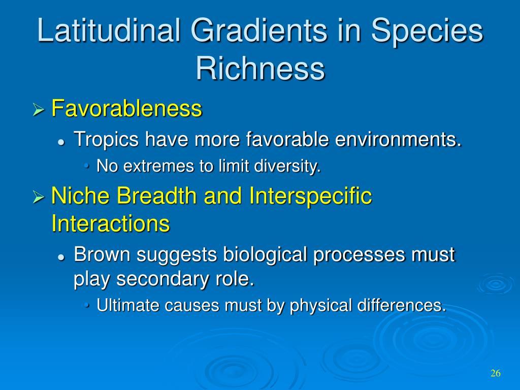 Latitudinal Gradients in Species Richness