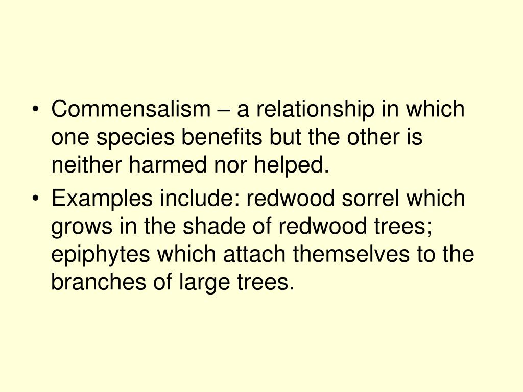 Commensalism – a relationship in which one species benefits but the other is neither harmed nor helped.